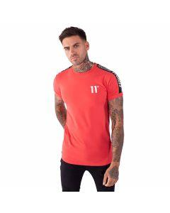 11 Degrees - Taped Muscle Fit T-Shirt - Hot Red