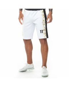 11 Degrees - Printed Contrast Panel High Leg Poly Shorts - White/Black/Gold