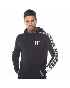 11 Degrees - Odin Text Pull Over Hoodie - Black