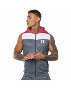 11 Degrees - Colour Block Sleeveless Poly Hoodie - Anthracite/White/Red
