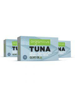 Organicus - Tuna - Natural Tuna Fillet with Organic Extra Virgin Olive Oil  - Stack of 3